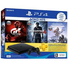 Ігрова приставка SONY PlayStation 4 Slim 500 ГБ Black (HZD+GTS+UC4+PSPlus 3М) (9395270)