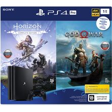 Ігрова приставка SONY PlayStation 4 Pro 1Tb Black + God of War, Horizon Zero Dawn